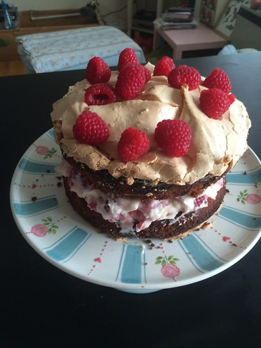 Raspberry Brownie Cake