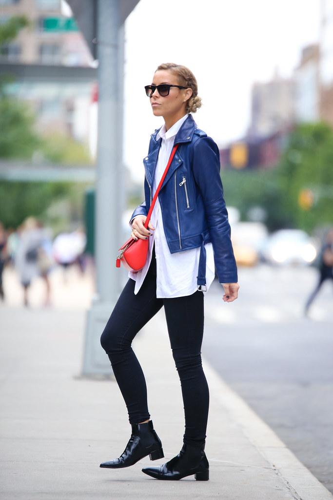 navy leather blazer
