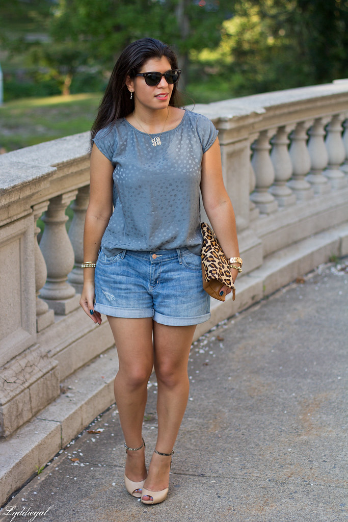 boyfriend denim shorts, silk top, leopard clutch-1.jpg