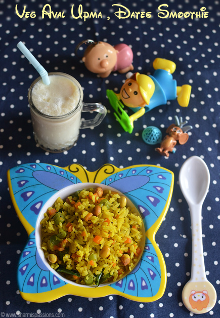 Vegetable Aval Upma & Dates Smoothie