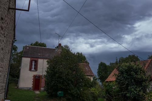 Dark sky, thunderstorm