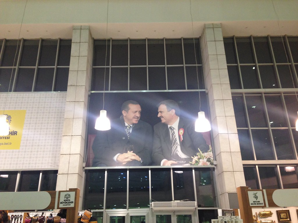 erdogans face at the mevlana cultural center