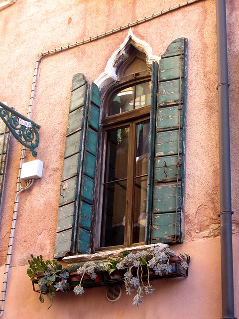 Venetian Window with Shutters and Flowers
