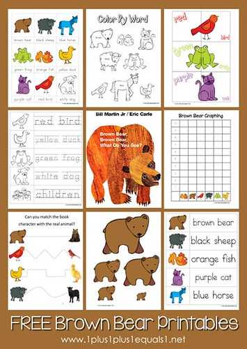 Brown Bear, Brown Bear Printables from 1+1+1=1