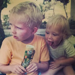 A picture perfect moment of my brother trying to steal my calippo when we were little! #memories #childhood