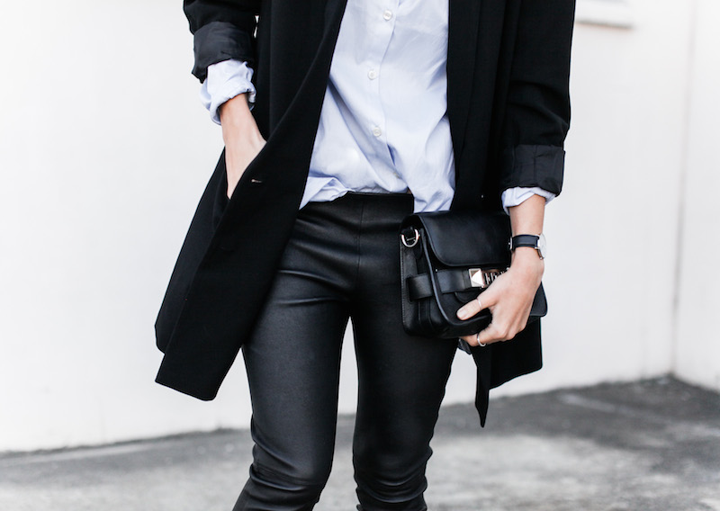 modern legacy fashion blog Australia street style Theory leather leggings Hope man style shirt boyfriend blazer Celine slide sandals Proenza Schouler PS11 mini bag work wear (8 of 12)
