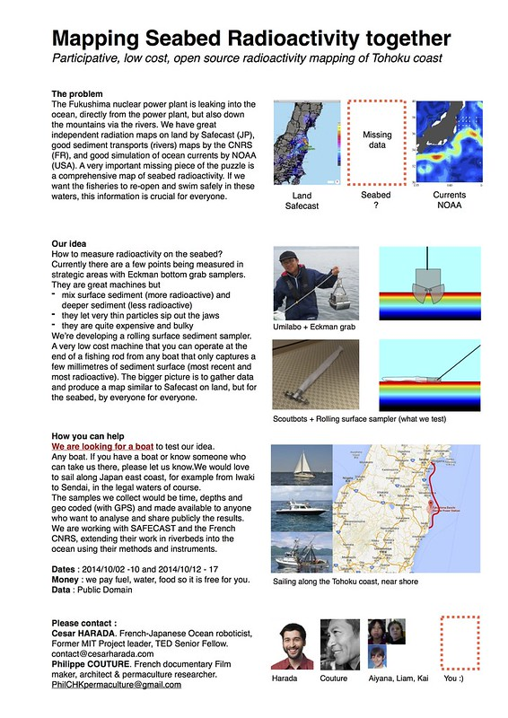 Mapping Seabed Radioactivity together Participative, low cost, open source radioactivity mapping of Tohoku coast