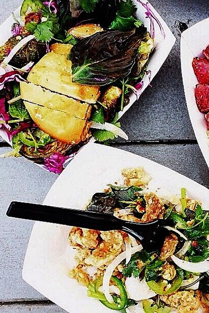 Brussels sprouts salad and Thai chicken Kara-age from East Side Kings in Austi
