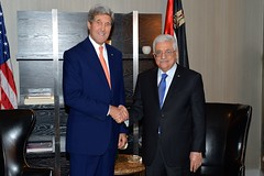 U.S. Secretary of State John Kerry meets with Palestinian President Mahmoud Abbas in New York City on September 23, 2104. The Secretary is holding meetings in conjunction with the 69th Session of the United Nations General Assembly. [State Department photo/ Public Domain]