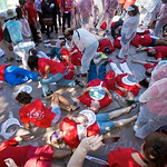 Nurses stage Ebola 'die-in' on Las Vegas Strip
