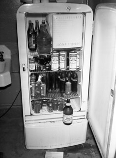 Refrigerator with illegal liquor shown after a raid at Sebron & Andrew's Bar-B.Q. Stand, Tallahassee