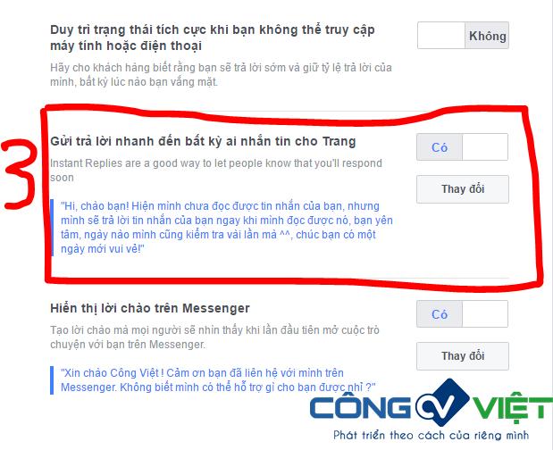 Hình 2: Cách cài đặt bật tin nhắn Trả Lời Nhanh trên Fanpage