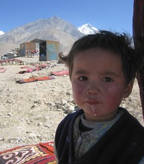 Semi Nomadic Kyrgyz Child The Karakoram Highway Landscape Xinjiang Uyghur Autonomous Region of China