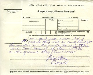 Waihi Strike Telegrams from Police Commissioner John Cullen, 9 November 1912 (5 of 5)