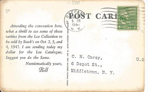 Stacks 1947 Lee sale postcard back