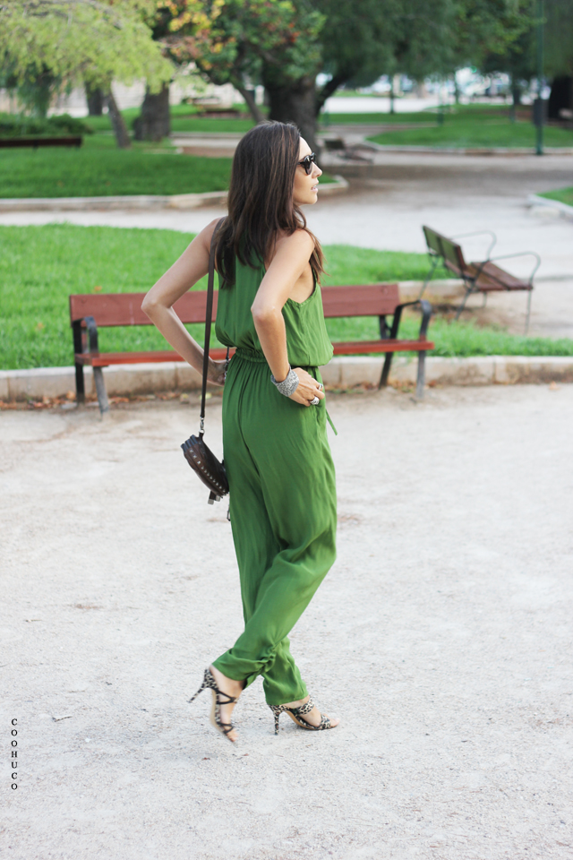 green jumpsuit coohuco 9