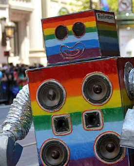 A rainbow-colored robot invites you to LGBT pride month.