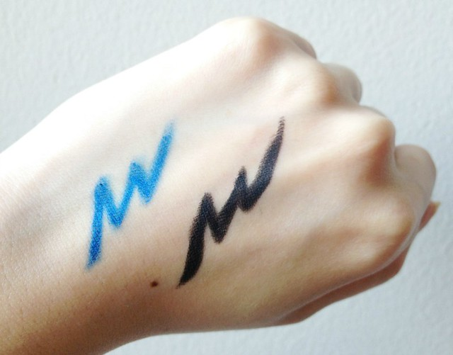 Revlon-Colorstay-Eyeliner-swatches, blue eyeliner, black liner, thick liner, longwear