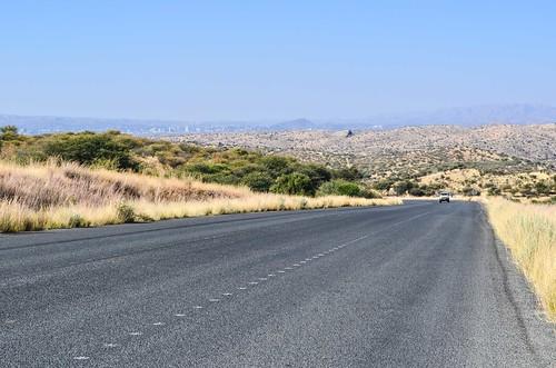 Gravel to tar road on C28, Namibia
