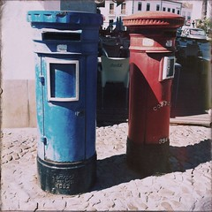 post box, blue,