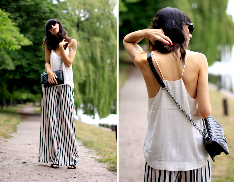 summer outfit striped wide pants white top zara h&m conscious collection oversized look chanel fashion fashionblogger berlin Ricarda Schernus CATS & DOGS 2