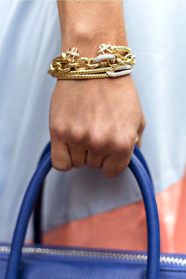 DY 18k Gold Bracele Stack