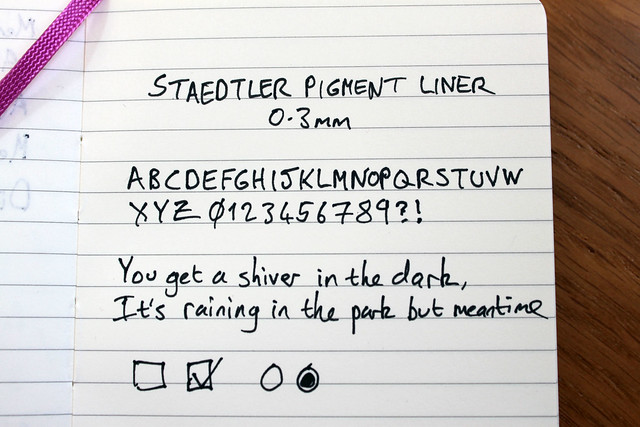 Staedtler pigment liner 0.3mm writing sample