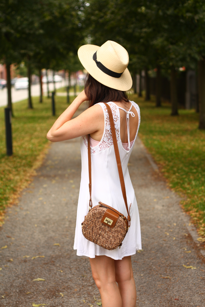White Crochet Dress, Gold Geox Wedges