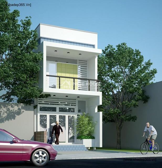 Phối cảnh mặt tiền công trình nhà phố 5x20m