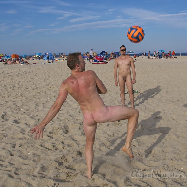 naturist football 0002 Sandy Hook, NJ, USA