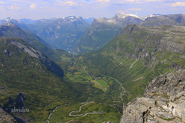 On top of Norway looking down on Gairanger Fjord