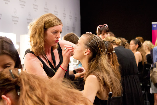 Backstage at Marc Cain Berlin Fashion Week