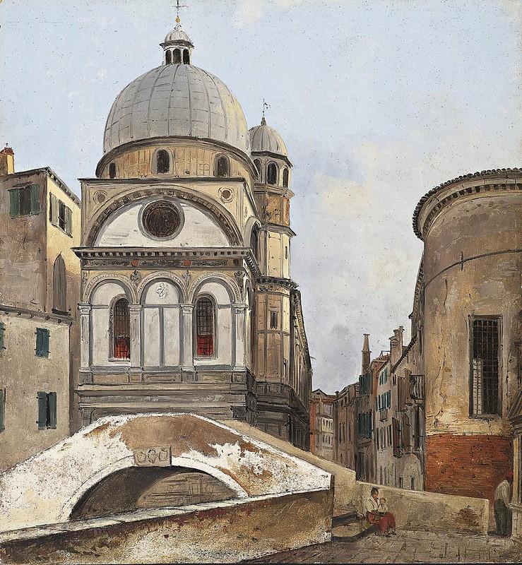 Ippolito Caffi - Santa Maria dei Miracole e Santa Maria Nova (c.1866)