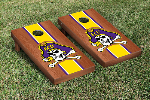 East Carolina University ECU Pirates Cornhole Game Set Rosewood Stained