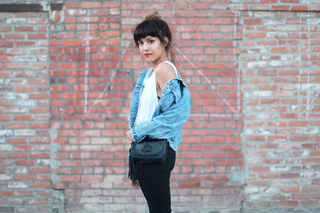 Zara basic tank, vintage denim jacket, For Love & Lemons La Fleur Bralette, American Apparel Easy Jean, vintage Chanel quilted chain purse