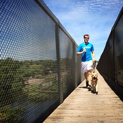 Crossing the Schuylkill River on our hike thru the north side of #ValleyForge with our weekend guest, Ganon! #instaganon #vfnp #srt