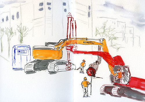 8-13-14 A ballet of heavy equipment at Weedin Place and NE 66th, Seattle