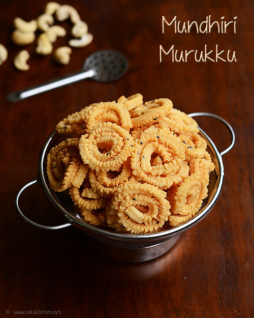 Mini cashew murukku recipe | Mundhiri murukku - Raks Kitchen