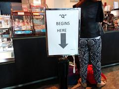 """Q"" Begins Here sign, Costa Cofee, LHR 1, London ,UK"