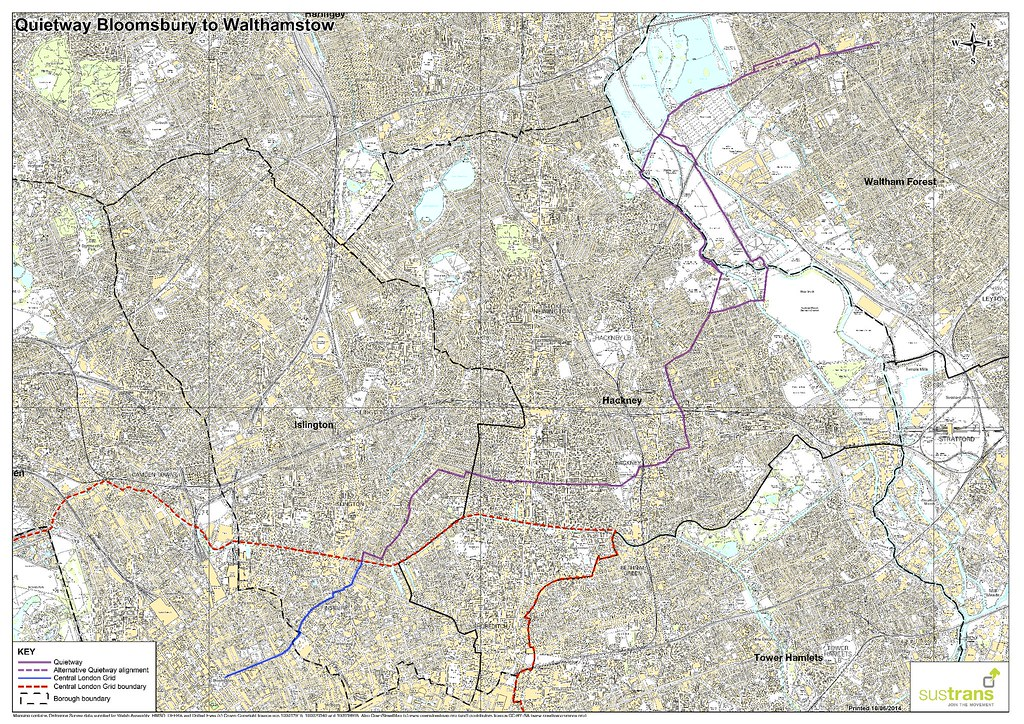2014-06-10 Quietway Bloomsbury to Walthamstow overview map A3 hi-qual