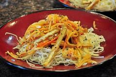 Papaya, Tofu and Rice Noodle Salad with Black Sesa…