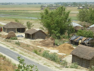 A view of the 'temporary' villages along the highway