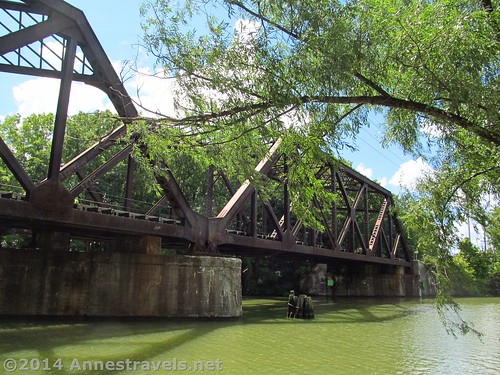 The old train bridge over the Erie Canal Path before Pittsford, New York