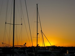 sunset with sailboats