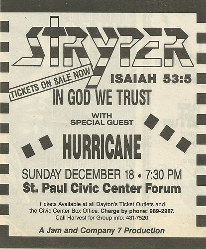12/18/88 Stryper/ Hurricane @ St. Paul Civic Center Forum, St. Paul, MN