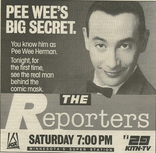 November 1988 Pee Wee Herman (Minneapolis/St. Paul TV News Ad)
