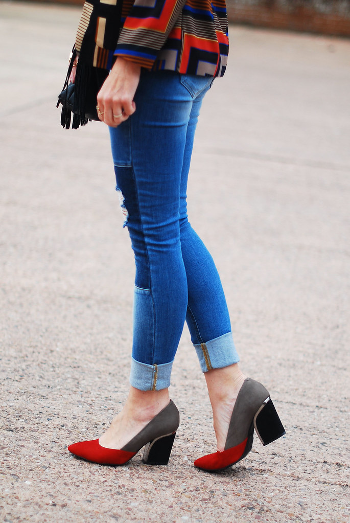 Autumnal style colour blocked heels and patchwork denim