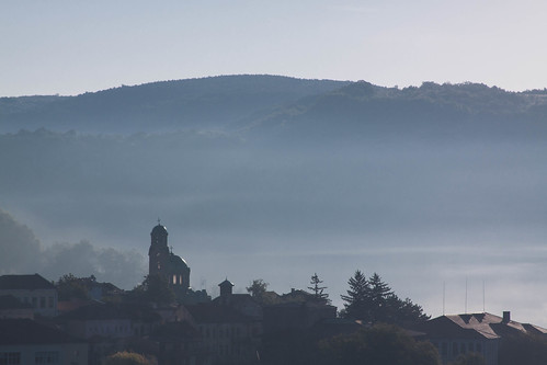 old morning mist church canon river view neglected hills bulgaria worn easterneurope cham yantra ironcurtain slopes velikotarnovo dignified turnovo велико търново