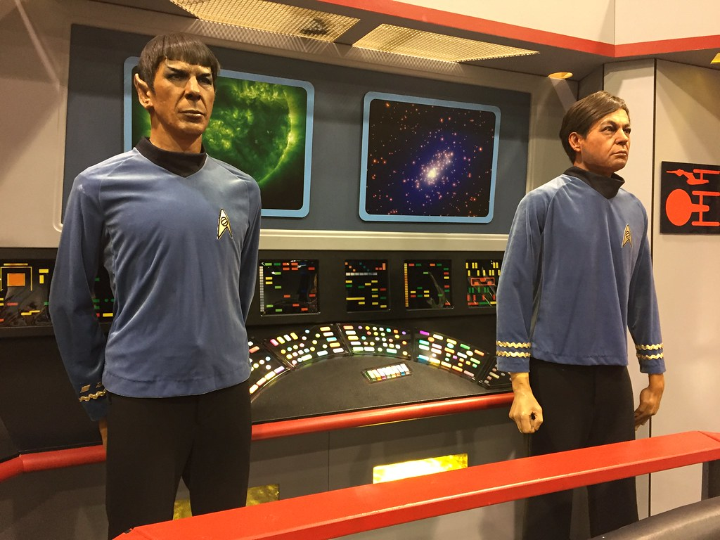 Spock and McCoy wax figures on an Enterprise bridge mockup...