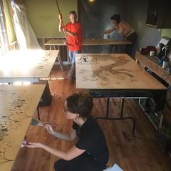 Selling the panels with us varnish. #habitablespaces #artistresidency #sustainability #wwoofusa @instaeleanor
